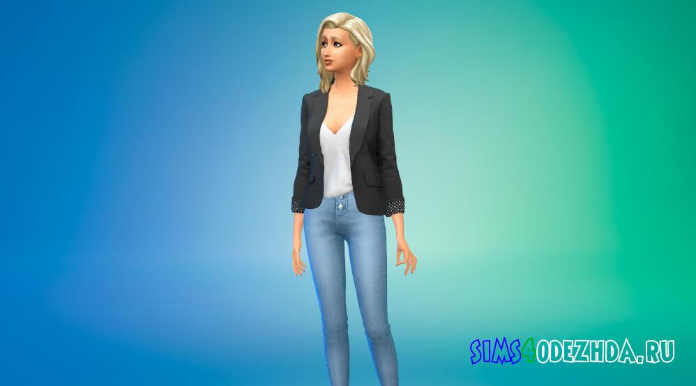 Женский пиджак с блузкой для Симс 4 - фото 2