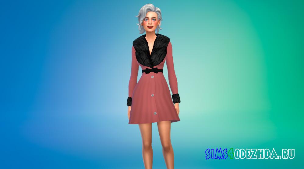 Женское пальто с мехом для Симс 4 - фото 1
