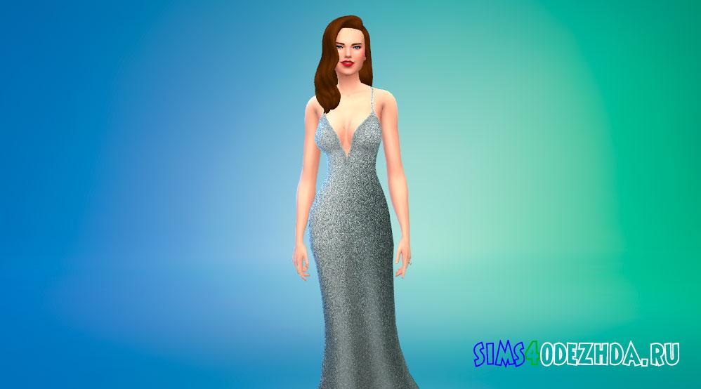 Длинное платье с глубоким вырезом для Симс 4 - фото 1