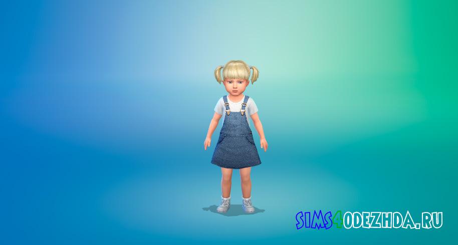 Джинсовое платье для малышей для Симс 4 - фото 1
