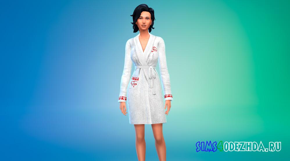Махровый женский халат для Симс 4 - фото 1