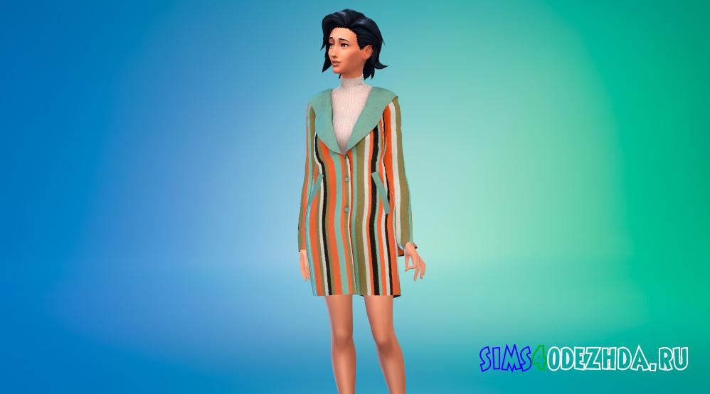 Модное шерстяное пальто для женщин для Симс 4 - фото 1