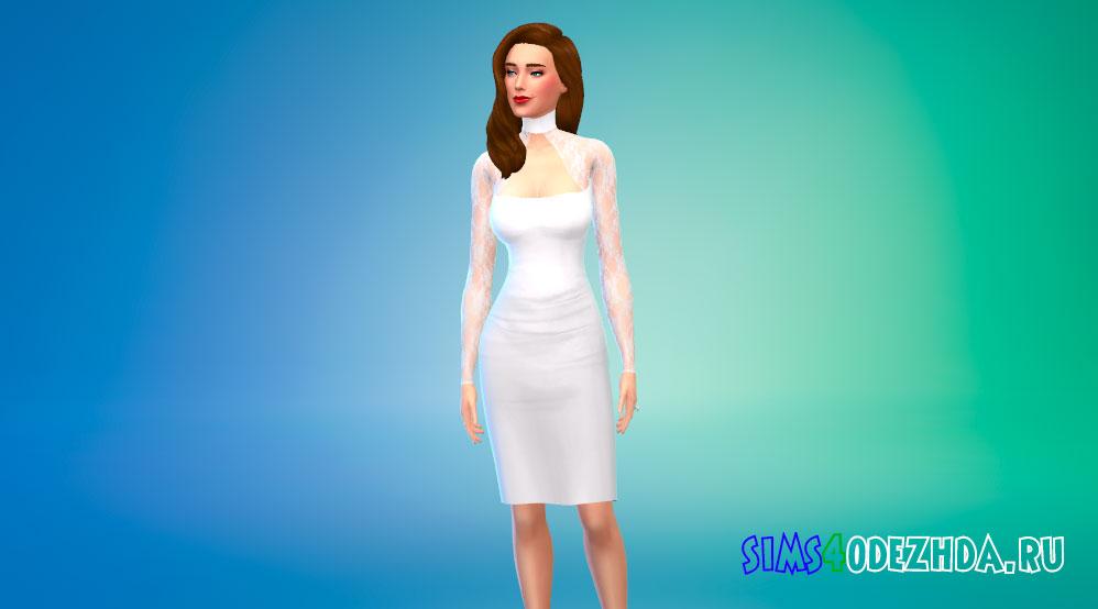 Платье-чокер с кружевными рукавами для Симс 4 - фото 1