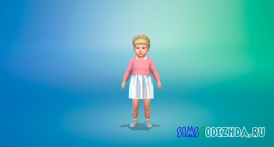 Свитер поверх платья для малышей для Симс 4 - фото 1