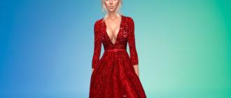 Длинное рубиново-красное платье для Симс 4 – фото 1