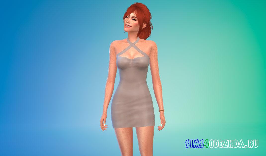 Красивое мини-платье с открытыми плечами для Симс 4 – фото 1