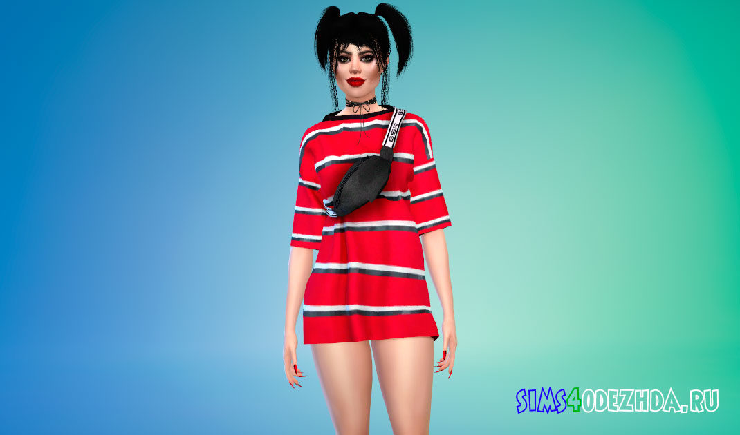 Платье-футболка в полосу для Симс 4 – фото 1
