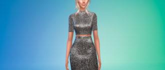 Платье с металлическим блеском для Симс 4 – фото 1