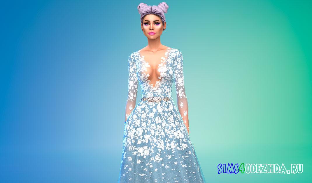Приталенное платье с длинными рукавами для Симс 4 – фото 1