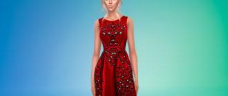 Длинное шикарное платье с вышивкой для Симс 4 – фото 1