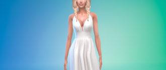 Длинное вечернее платье с открытыми плечами для Симс 4 – фото 1