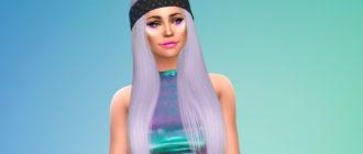 Длинные женские волосы с банданой для Симс 4 – фото 1