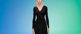 Элегантное платье с завязанным узлом для Симс 4 – фото 1