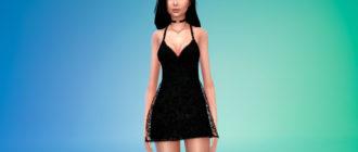 Короткое кружевное платье для Симс 4 – фото 1
