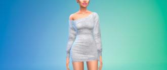 Короткое платье с открытым плечом для Симс 4 – фото 1