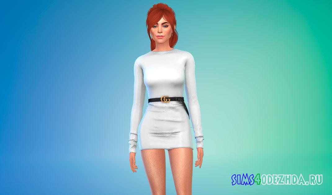 Короткое платье с рукавами от Gucci для Симс 4 – фото 1