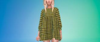 Короткое платье в корейском стиле для Симс 4 – фото 1