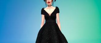 Короткое пышное платье с бантом для Симс 4 – фото 1