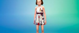 Красивое дизайнерское платье для девочек для Симс 4 – фото 1