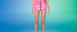 Латексная юбка с поясом для Симс 4 – фото 1