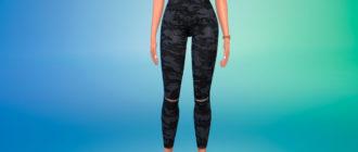 Летние камуфляжные джинсы для девушек для Симс 4 – фото 1