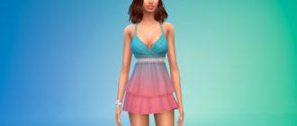 Милое многослойное платье с оборками для Симс 4 – фото 1