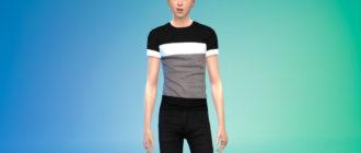 Мужская футболка с геометрическим рисунком для Симс 4 – фото 1