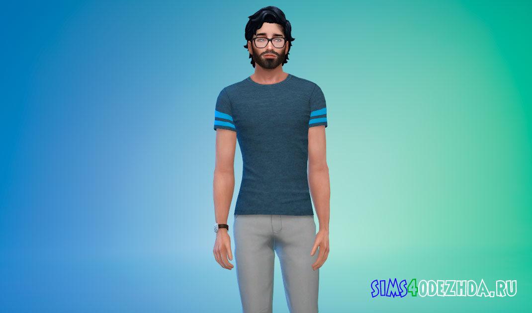 Мужская футболка с полосками на рукавах для Симс 4 – фото 1