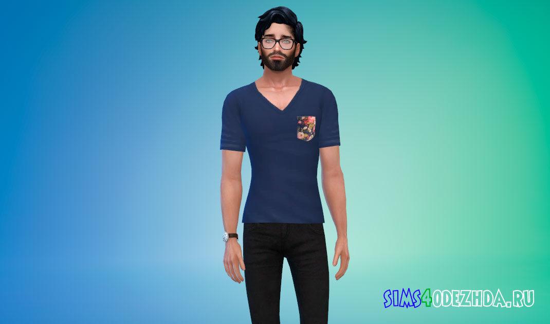 Мужская футболка с V-образным вырезом для Симс 4 – фото 1