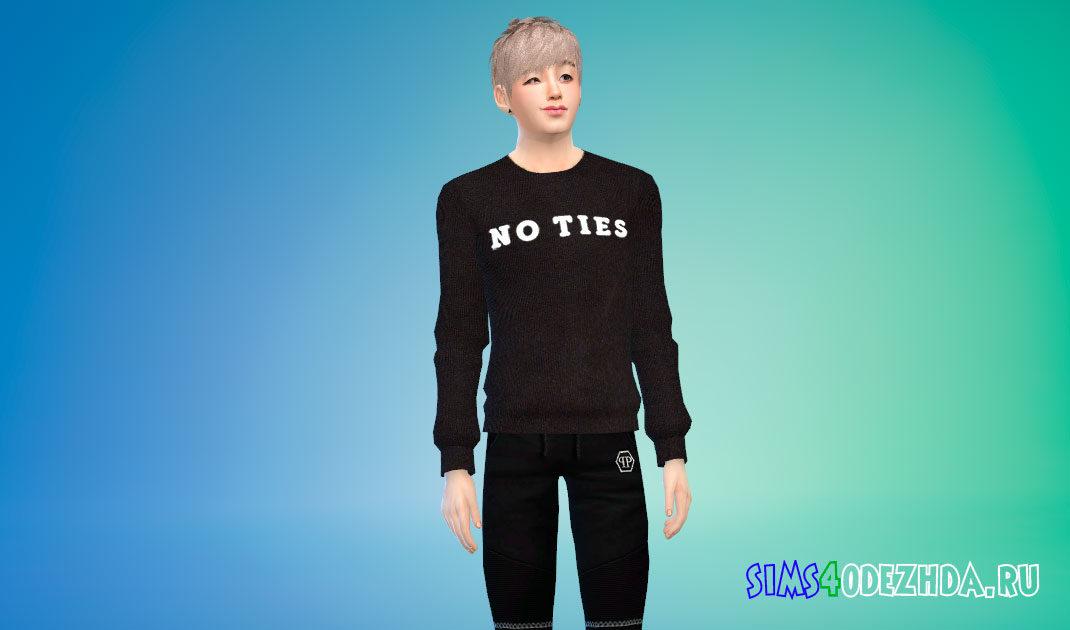 Мужской свитер с надписями для Симс 4 – фото 1