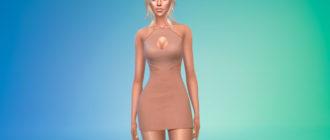 Облегающее дизайнерское платье с вырезами для Симс 4 – фото 1