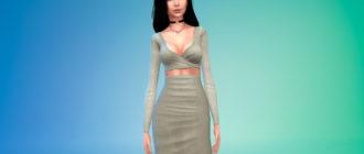 Облегающее платье с длинными рукавами для Симс 4 – фото 1