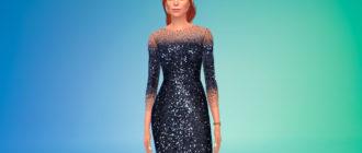 Платье с длинными рукавами и пайетками для Симс 4 – фото 1