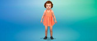 Платье с открытой спиной и бантом для малышей для Симс 4 – фото 1