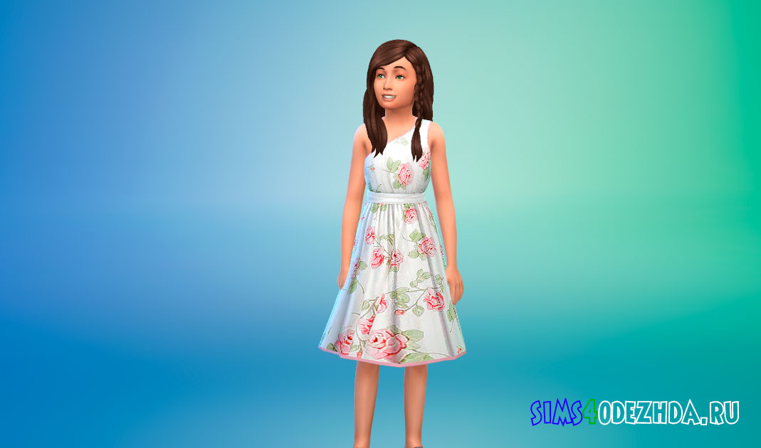 Платье с принтом роз для девочек для Симс 4 – фото 1