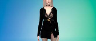 Платье-свитер Gucci для Симс 4 – фото 1