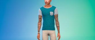 Простая футболка с нагрудным карманом для Симс 4 – фото 1