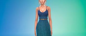 Простое длинное платье с поясом для Симс 4 – фото 1