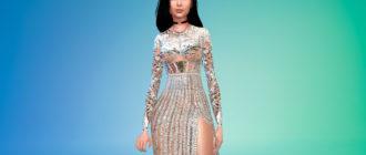 Серебристое платье Ким Кардашьян для Симс 4 – фото 1