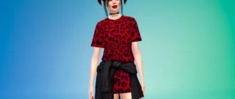 Симпатичное Т-образное платье со свитером для Симс 4 – фото 1