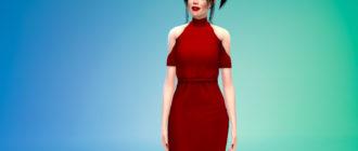 Стильное платье-карандаш с открытыми плечами для Симс 4 – фото 1