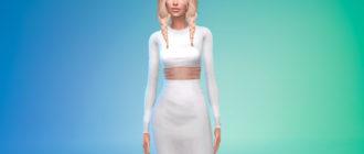 Стильный женский наряд с вырезом для Симс 4 – фото 1