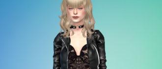 Женская прическа рокабилли с повязкой для Симс 4 – фото 1