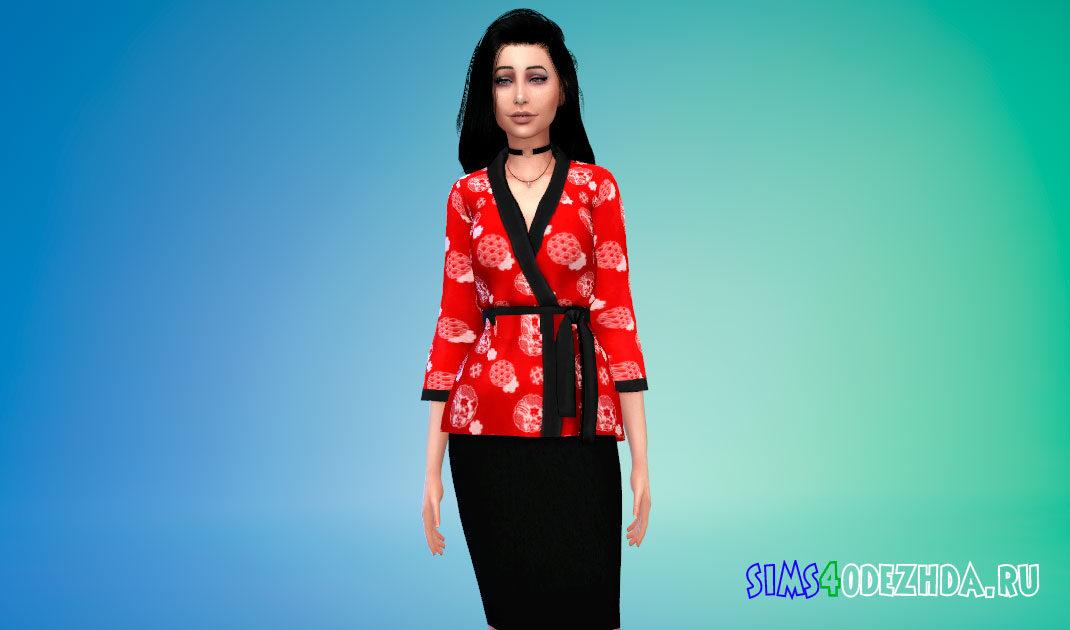 Женское современное кимоно для Симс 4 – фото 1