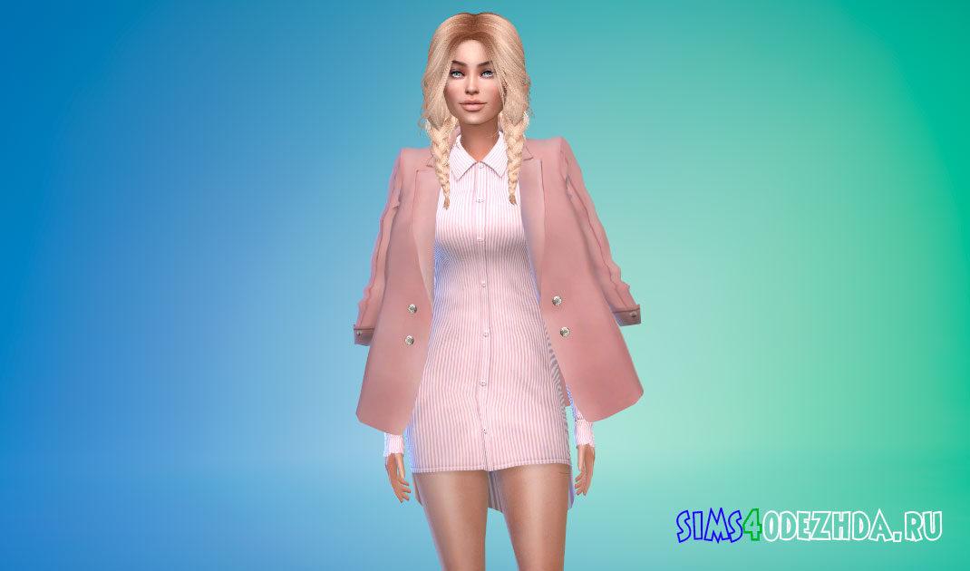 Блейзер-накидка для женщин для Симс 4 – фото 1