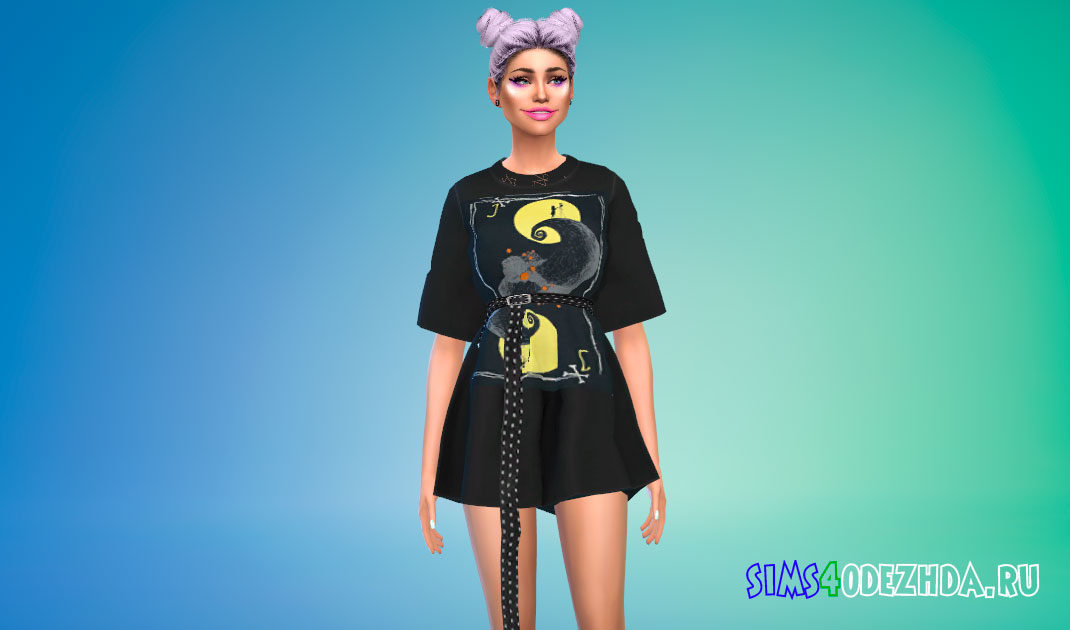 Большое платье-футболка с поясом для Симс 4 – фото 1