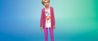Детский кардиган с футболкой для Симс 4 – фото 1