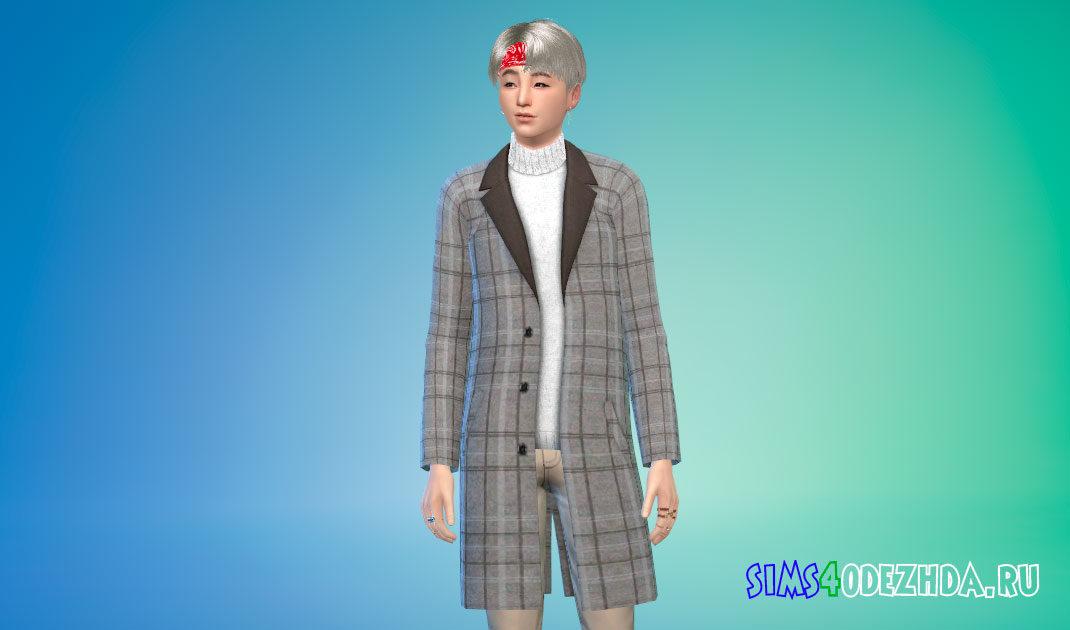 Длинное пальто со свитером для мужчин для Симс 4 – фото 1