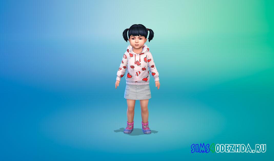 Худи для девочек-малышек для Симс 4 – фото 1