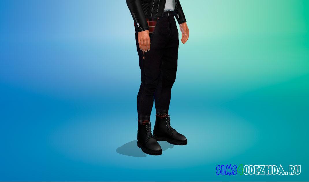 Яркие кожаные ботинки для мужчин для Симс 4 – фото 1